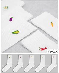 New Look - Набор Из 5 Пар Белых Носков С Вышивкой Овощей -белый - Lyst