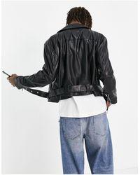 ASOS Faux Leather Cropped Biker Jacket With Belt - Black