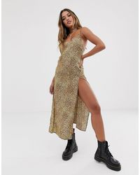Motel Backless Maxi Dress - Brown