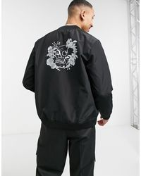 Bolongaro Trevor – Bomberjacke mit Print auf dem Rücken - Schwarz
