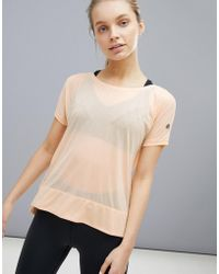 Asics - Running Crop Front Tee In Apricot - Lyst