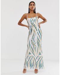 Goddiva Vestido largo con escote cuadrado y diseño - Verde