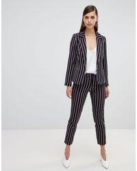 UNIQUE21 Unique 21 Stripe Ankle Grazer Tailored Trousers - Blue