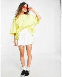 Collusion Oversized-футболка Желтого Цвета Из Пике С Эффектом Кислотной Стирки И Принтом Unisex-желтый