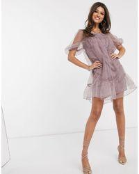 NA-KD - Лавандовое Платье Мини Из Органзы -фиолетовый - Lyst