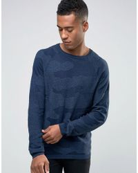 Jack & Jones - Textured Camo Knitted Crew Neck Jumper - Lyst