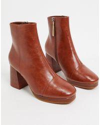 ASOS Светло-коричневые Ботинки На Платформе - Коричневый
