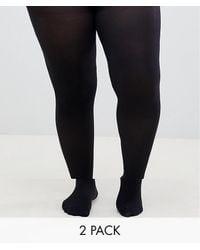 ASOS ASOS DESIGN Curve - Confezione da 2 collant 60 denari neri super stretch - Nero