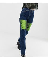 The Ragged Priest - Mom Jeans With Faux Leather Snakeskin Panels - Lyst