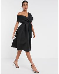 ASOS Fallen Shoulder Midi Prom Dress With Tie Detail - Black