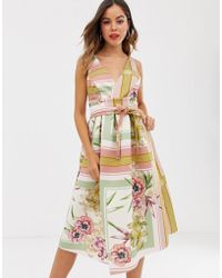 ASOS - Floral Check Prom Midi Dress - Lyst