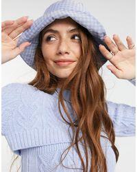ASOS Cappello da pescatore blu a quadri - Multicolore