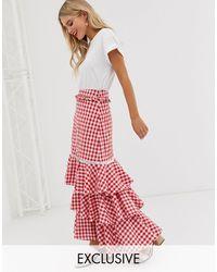 Glamorous Midi Skirt With Ruffle Layers - Red