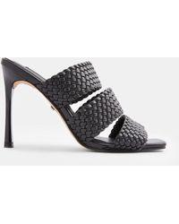 TOPSHOP Weave Heeled Mules - Black