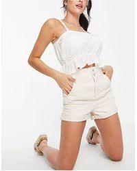 TOPSHOP Shorts vaqueros color crudo - Blanco