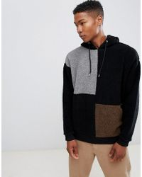 ASOS - Asos Oversized Borg Hoodie With Colour Blocking - Lyst