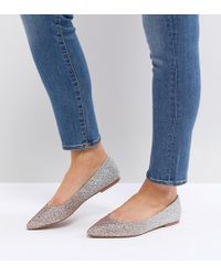 ASOS - Latch Wide Fit Pointed Ballet Flats - Lyst