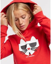 Karl Lagerfeld Kocktail Choupette Hooded Sweatshirt - Red