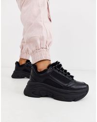 Stradivarius Borg Lined Chunky Sneakers - Black