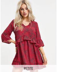 Vero Moda Smock Dress With Frill Sleeve - Red