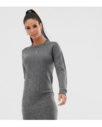 Brave Soul Tall Grungy Round Neck Sweater Dress - Gray