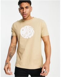 Pretty Green Hommes contraste cou PG Imprimer T-shirt jaune taille XS