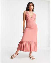 Pieces Vestito lungo senza maniche rosa con scollo profondo