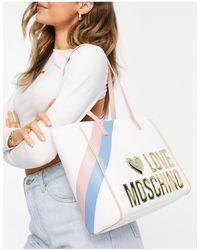 Love Moschino Белая Дорожная Сумка-тоут С Большим Логотипом -белый