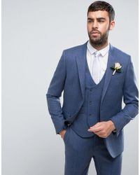 ASOS - Wedding Slim Suit Jacket In Airforce Blue 100% Merino Wool - Lyst