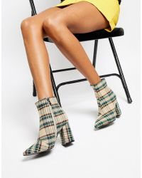 017c62db36 Lyst - Faith Beck Gray Plaid Check Heeled Ankle Boots in Gray
