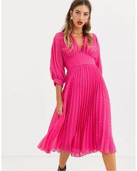 ASOS Ярко-розовое Плиссированное Платье Миди С Шевронообразным Рисунком - Розовый