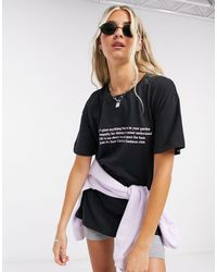 New Girl Order - Oversized T-shirt With Kindness Club Graphic-black - Lyst