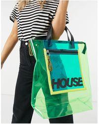 House of Holland Borsa shopping trasparente con cerniera lampo, colore verde