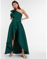 True Violet Темно-зеленое Ассиметричное Платье Макси На Одно Плечо С Оборками -зеленый
