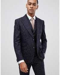 Moss Bros Moss London Premium Skinny Suit Jacket In 100% Wool Boucle Stripe - Blue