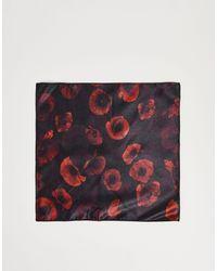 Bolongaro Trevor – Set aus geblümtem, quadratischem Einstecktuch und Ansteckblume für das Revers - Mehrfarbig
