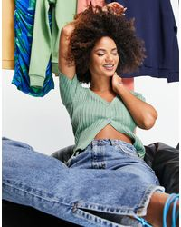 I Saw It First Knitted Rib Button Detail Top - Green
