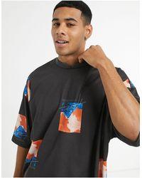 ASOS - Camiseta negra extragrande con cuello alzado - Lyst