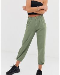 Bershka - Button Top Trousers In Khaki - Lyst