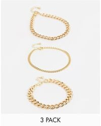 ASOS Набор Из 3 Золотистых Браслетов-цепочек На Ногу - Металлик