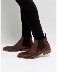 Jeffery West - Capone Brogue Chelsea Boots In Tan - Lyst