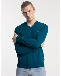 Lacoste V-neck Cavier Pique Accent Cotton Jersey Sweater - Blue