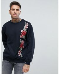 Boohoo - Floral Embroidered Sweater In Black - Lyst