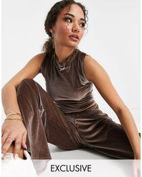 Fashionkilla - Эксклюзивный Серо-коричневый Велюровый Топ Без Рукавов От Комплекта -коричневый Цвет - Lyst