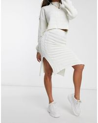 Missguided Co-ord Cable Knit Midi Skirt - White