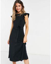 Oasis Robe mi-longue avec manches à volants - Noir