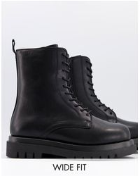 Truffle Collection Wide Fit Lace Up Chunky Military Boots - Black