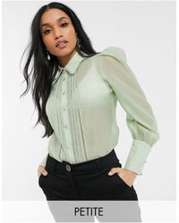River Island Pleated Front Shirt - Green