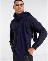 Paul Smith Wollen Sjaal Met Geborduurd Logo - Blauw