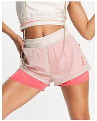 Fila Спортивные Шорты Со Вставкой С Логотипом Бежевого И Розового Цветов -белый